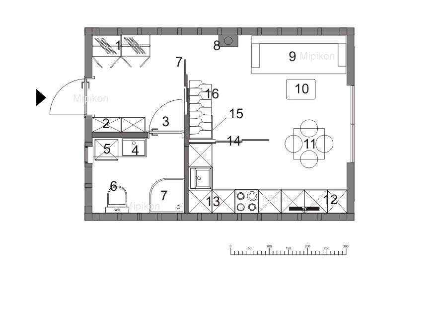 układ pomieszczeń małego domu