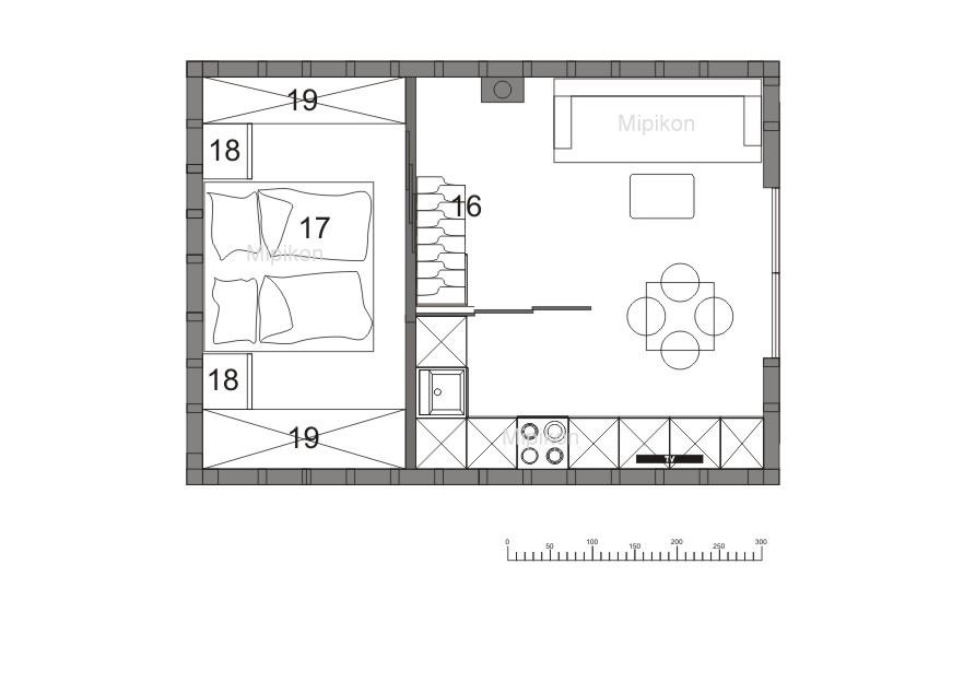 układ wnętrza małego domu - antresola